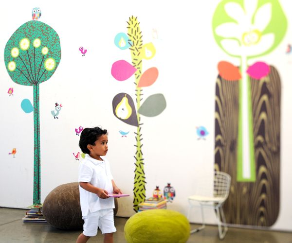 These whimsical wall decals from @Pop & Lolli Fabric Eco Friendly Wall Decals are perfect for the playroom!
