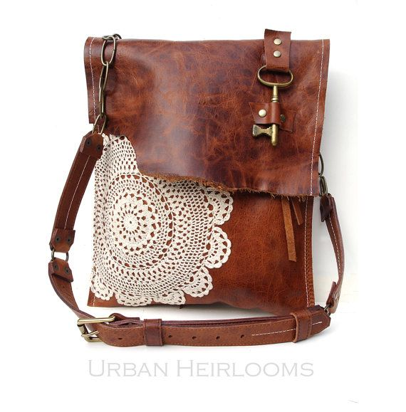 Leather Crochet Bag : Leather Boho Messenger Bag with Antique Key and Crochet Lace - Large ...