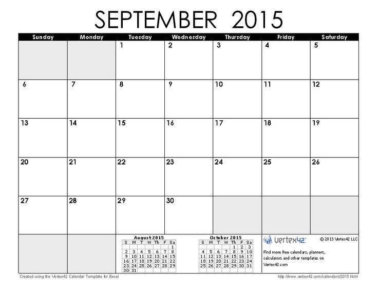Printable Daily Calendar September 2015 – Printable Editable Blank