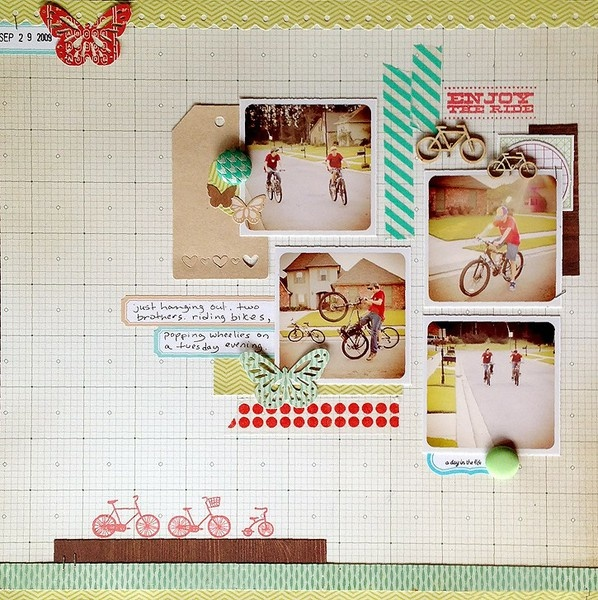 layout using some cute Washi & stamps