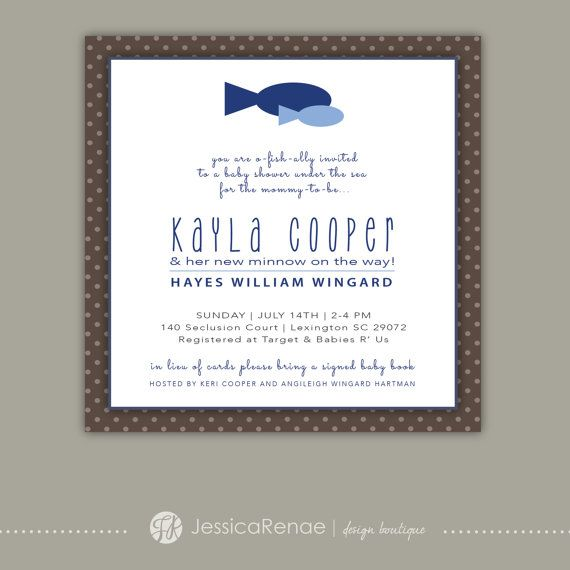 baby shower fish theme brown blue invitation flat card on etsy