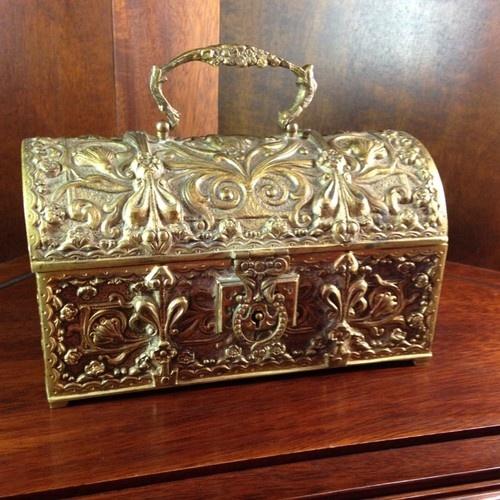 Урожай твердой латуни Ювелирные Box Античный Стиль Арт Нуво | eBay