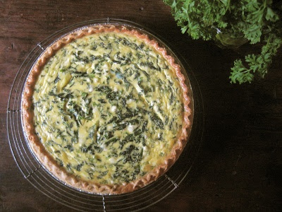 goat cheese and spinach quiche with fresh dill