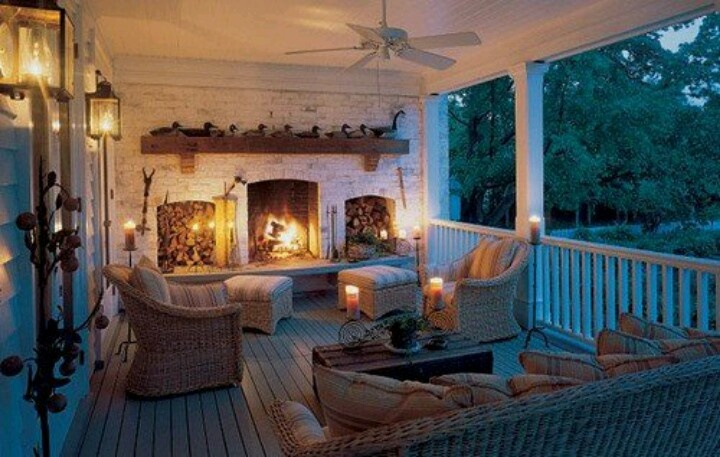 Beautiful porch with fireplace lake house pinterest for Back porch fireplace