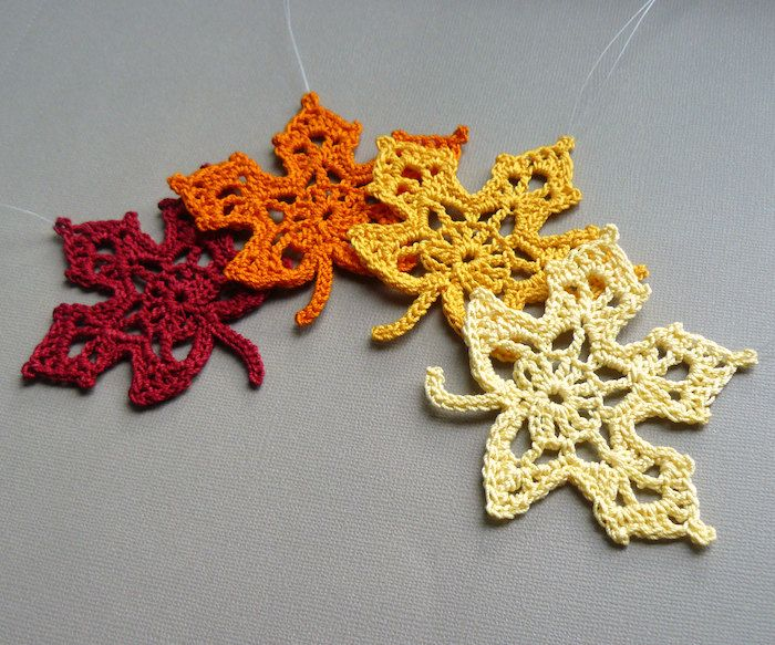 Free Crochet Pattern For A Maple Leaf : 4 Crochet Maple Leaf Ornaments -- Multicolored Autumn ...