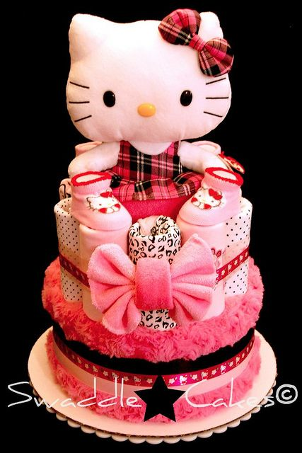 Wild Pink Hello Kitty Diaper Cake by swaddlestar, via Flickr