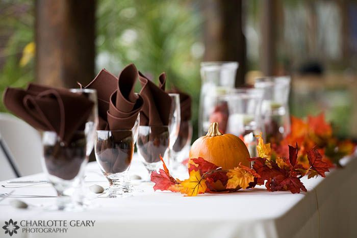 Fall wedding reception table decorations