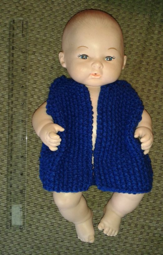 knit doll vest free pattern 12 inch doll clothes Pinterest