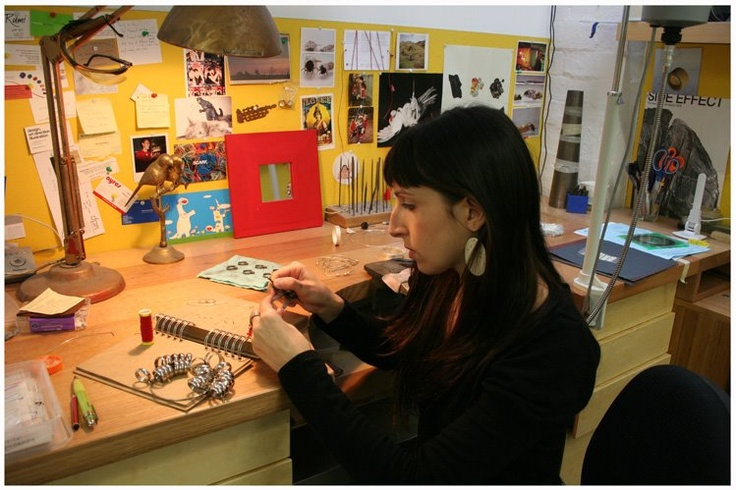 Edition X and PO8 Gallery director Melanie Katsalidis at her jewellery workbench via The Design Files