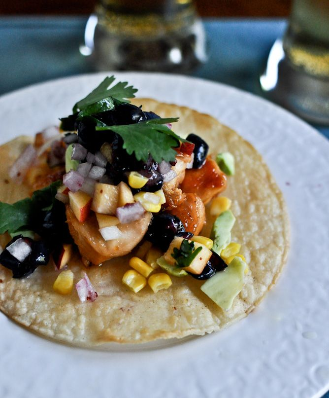 chicken, avocado, and grilled corn tostadas with blueberry peach salsa ...