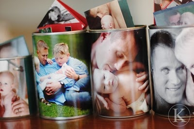 Cans decorated with photos