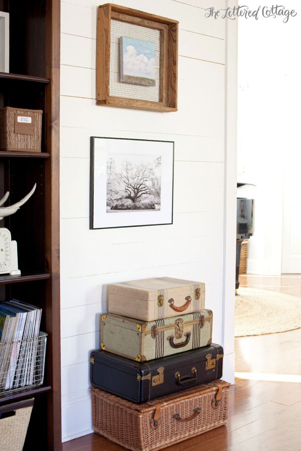 The Lettered Cottage | Living Room | Wood Wall | Vintage Suitcases - lovely space