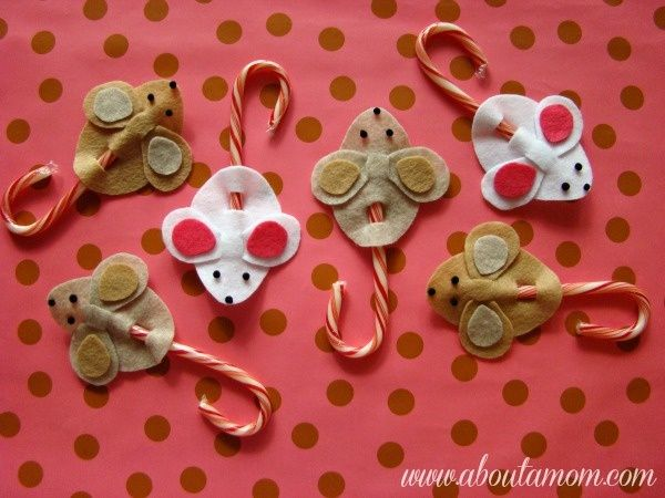 Candy cane mice holiday craft project crafts pinterest