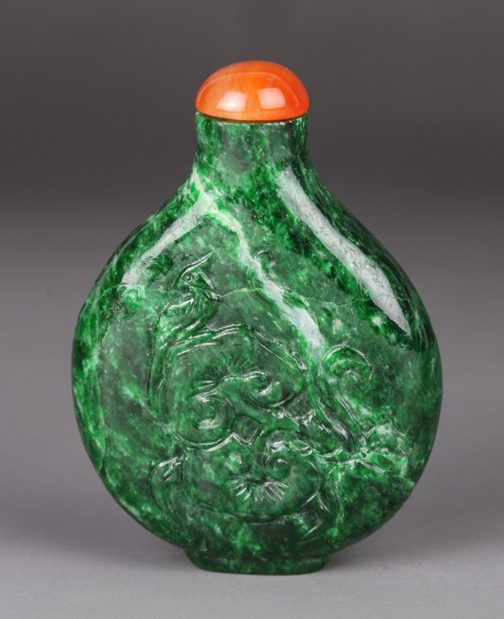 19thC.Chinese Spinach Jadeite Jadeite Snuff Bottle