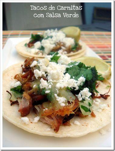 Tacos de Carnitas con Salsa Verde | Let's do lunch! | Pinterest