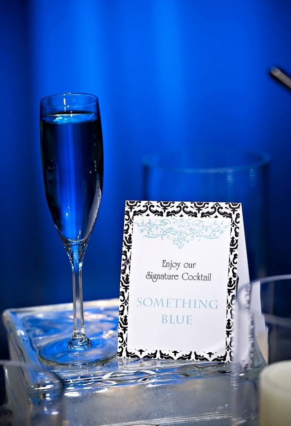 Something blue champagne cocktail wedding signature for Champagne mixed drinks