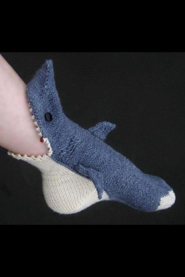 Knitted Shark Socks Pattern : Shark knitted socks.....need fashion bits! Pinterest
