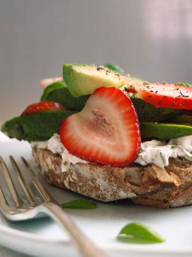 strawberry, avocado and ricotta open sandwich
