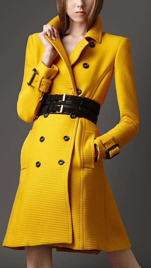 Yellow Long Belt Coat