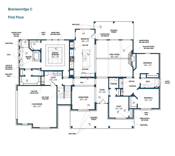 floor plan of the first floor of the breckenridge by