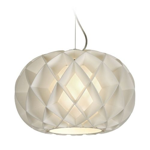 Modern Pendant Light With White Paper Shade In Brushed Nickel Finish