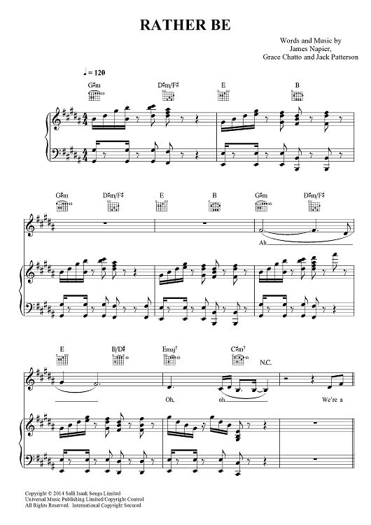 Rather be quot by clean bandit sheet music www onlinesheetmusic com