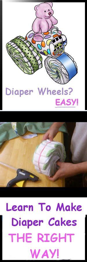 cute cartoon tractor diaper cake with purple bear on top!