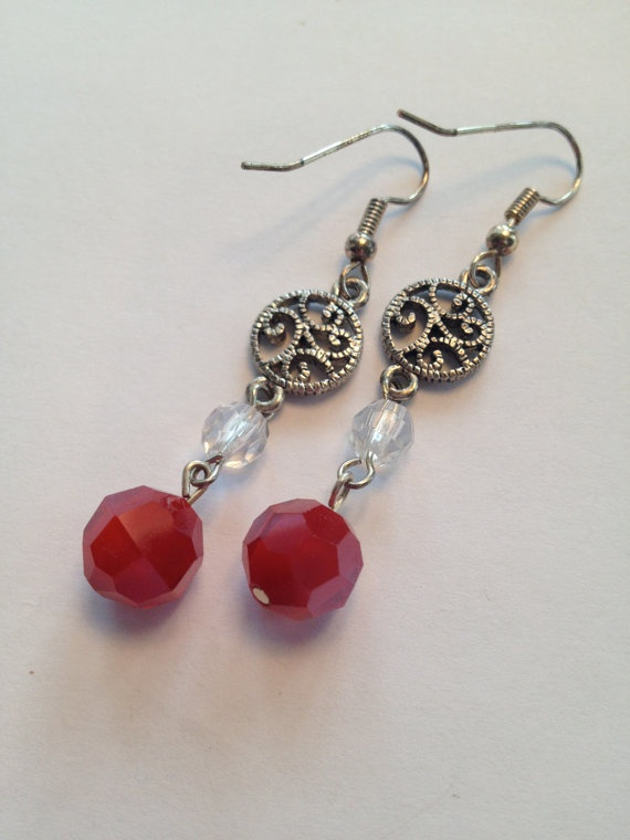 Red Bead Earrings by SharonKrug on Etsy, $14.95