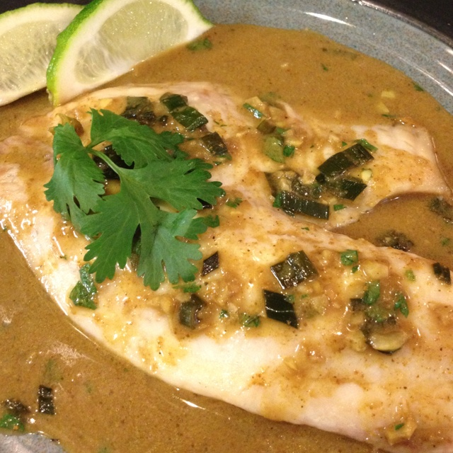 For lunch: broiled Tilapia with Thai Coconut curry sauce. Recipe by ...