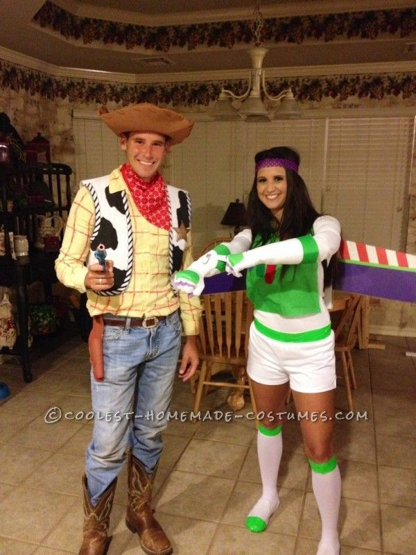 Coolest and Most Believable Homemade Woody and Buzz Lightyear Costumes    Woody And Buzz Couple Costumes