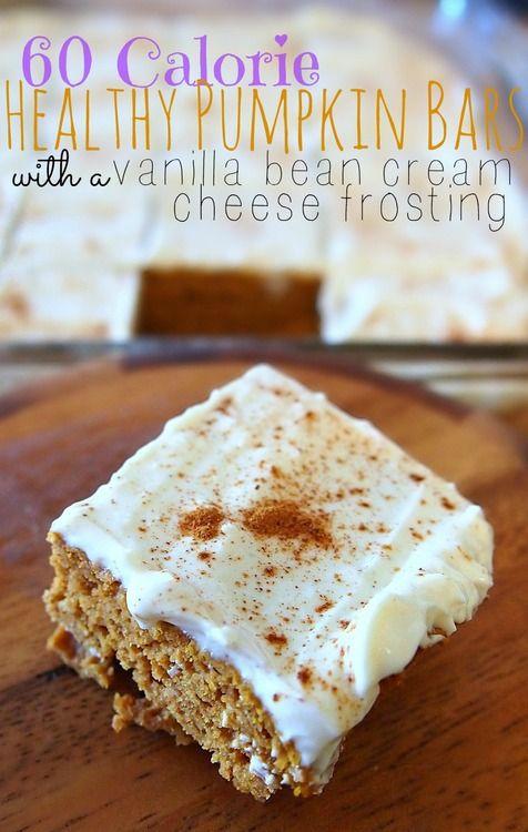 60 Calorie Healthy Pumpkin Bars With A Vanilla Bean Cream Cheese Frosting!