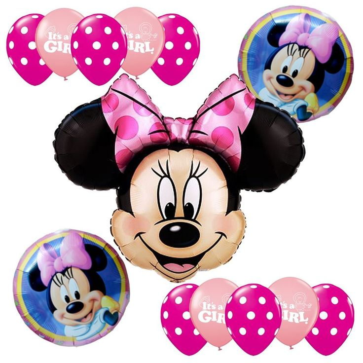 baby shower supplies minnie mouse pink foil balloons bouquet it 39 s a
