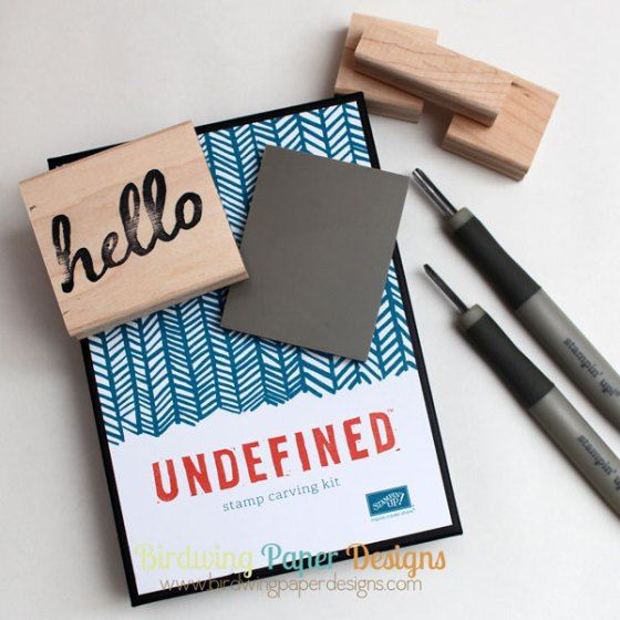 hello stamp carved by Birdwing Paper Designs