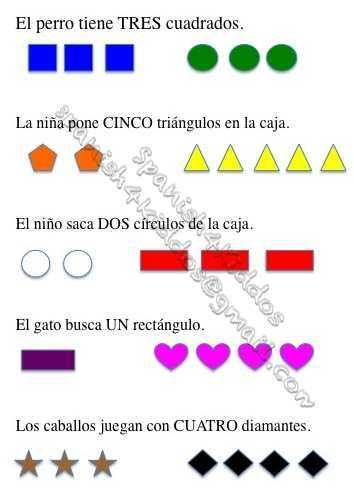 ... Numbers with shapes and colors | Free Spanish Worksheets for