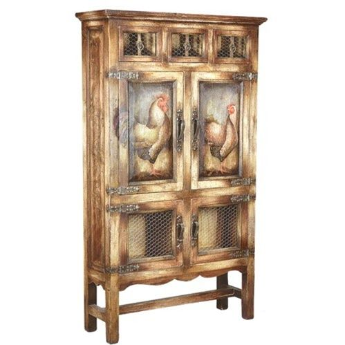 Glorious Rust and Ochre Armoire W/Faux Rustic Motif    This breathtaking rust and ochre armoire features a bold hand-painted rooster design, wire doors, and a unique faux rustic design. Hand-crafted in Peru. Allow 4-6 weeks for delivery.