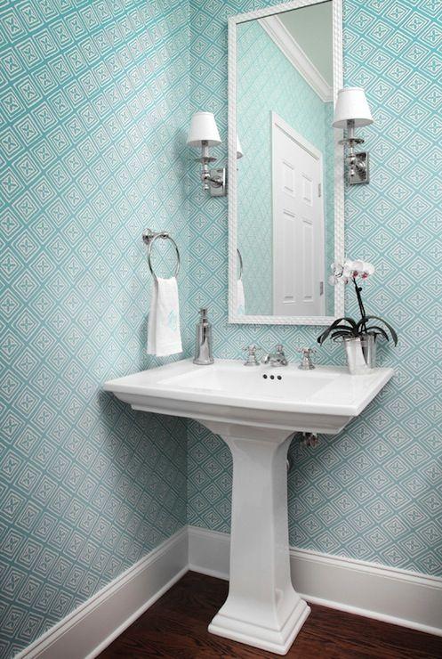 blue geometric wallpaper, pedestal sink Bed & Bath Pinterest
