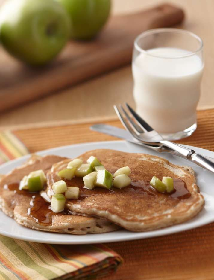 Cinnamon-Oatmeal Pancakes with Apple-Maple Syrup - The Breakfast ...