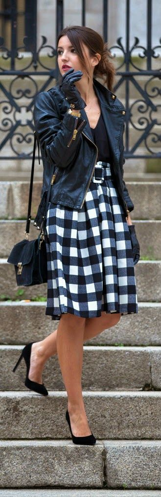 Check and Pleats Belted Midi Skirt by Lovely Pepa