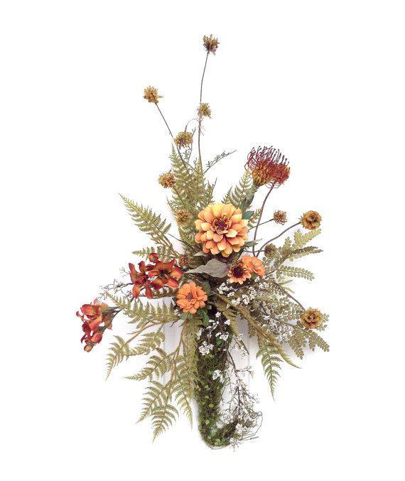 Autumn silk flower arrangement fall decor autumn floral Fall floral arrangements