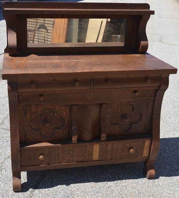 Antique Empire Buffet Tiger Oak Sideboard