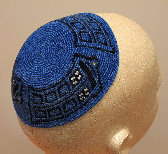 Crochet Yarmulke : Dr. Who TARDIS Crocheted Kippah / Yarmulke, From Gregs Creative ...