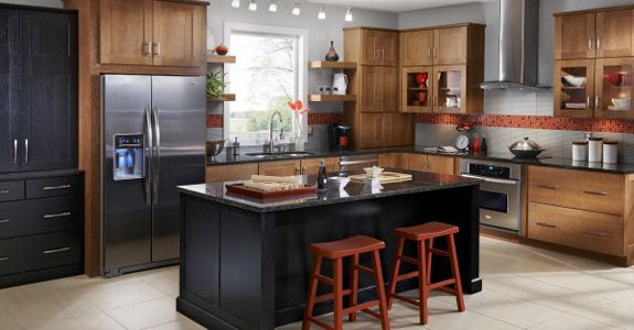 the red & gray with dark countertop and lighter cabinets KraftMaid