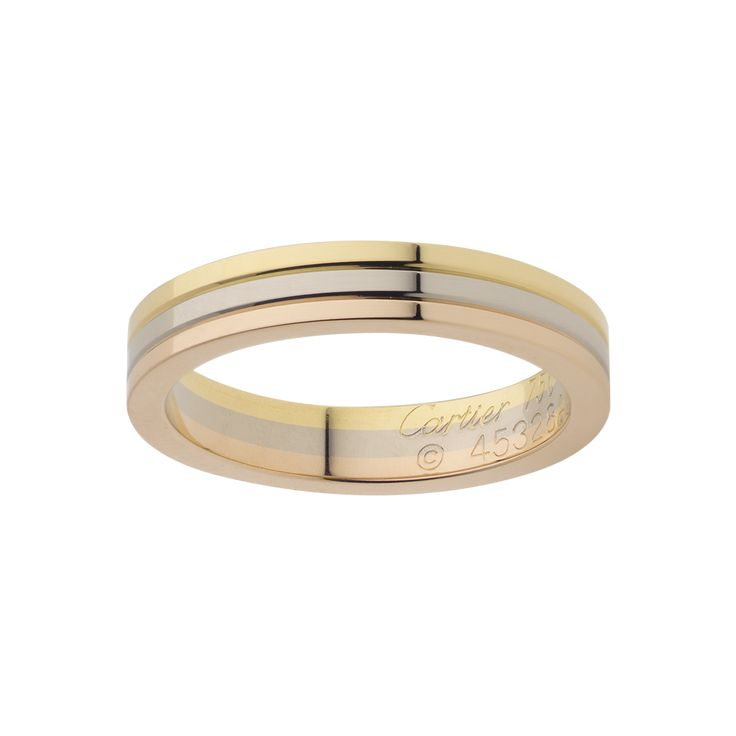 Cartier 'Trinity' Wedding Band. Yellow, White, and Rose Gold. Width: 3 ...