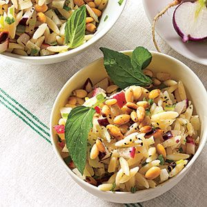 Orzo Salad with Radish and Fennel Lemony dressing and fresh mint add ...