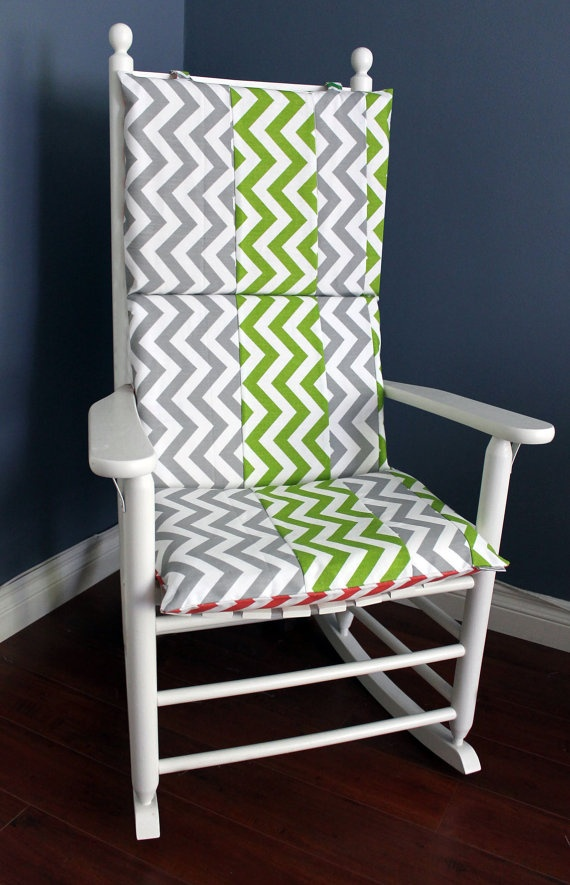 Rocking Chair Cushion Pink Green Grey Chevron