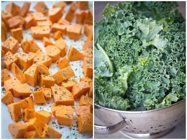 Kale & Sweet Potatoes with Goat Cheese via Linda Wagner
