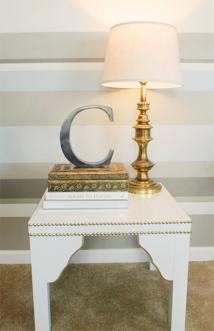 IKEA Hackers: Embellished Lack Side Table... Also like the colors of stripes on the wall