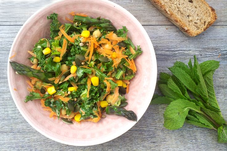 Asparagus, Kale Salad With Tahini Dressing [vegan] by The Flexitarian