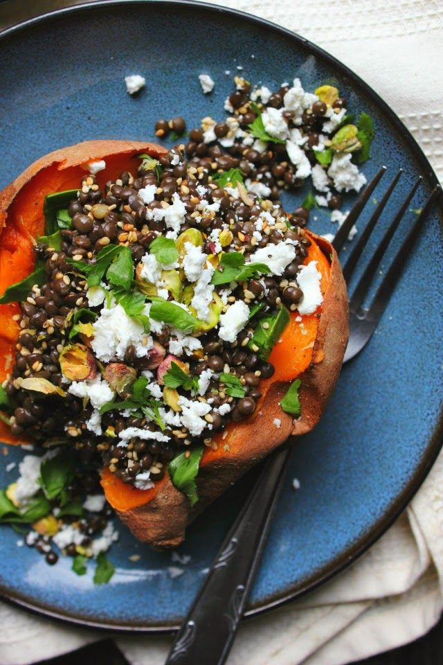 Lentil Stuffed Sweet Potatoes with Chard, Feta & Pistachios | happy ...