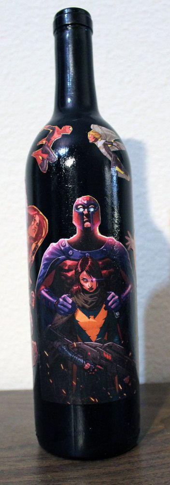 marvel comics avengers vs x men wine bottle home decor